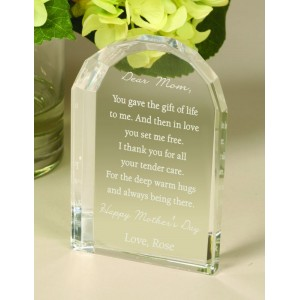 Crystal Dome Plaque - Mother's Day