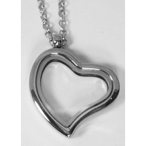 Floating Charm Locket - Curved Heart