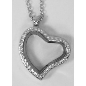 Floating Charm Locket - Curved Heart with Rhinestones