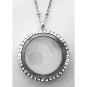 Floating Charm Locket - Round with Rhinestones - Large