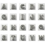 Alphabet Letters Floating Charms - Silver with Rhinestones