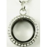 Floating Charm Locket - Round with Rhinestones - Mini