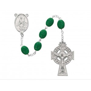 Oval Green Shamrock Rosary